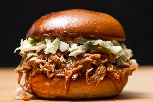 image of BBQ pulled pork roll with coleslaw